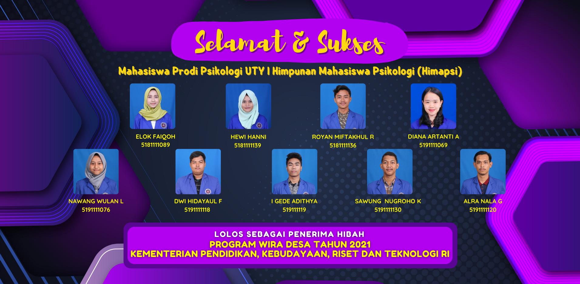 Mahasiswa Psikologi UTY Lolos Hibah Pendanaan dari Kemdikbud Ristek RI